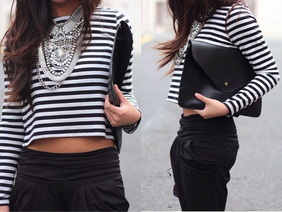 summer outfits bag jewels necklace black and white stripes striped shirt white crop tops style classy streetwear streetstyle top winter outfits silver diamonds winter sweater skinny pants denim shirt