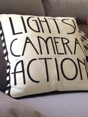 home accessory,pillow,hollywood,lights camera action,quote on it,cinema,movies,quote on it pillow,dorm room,decorative cushions