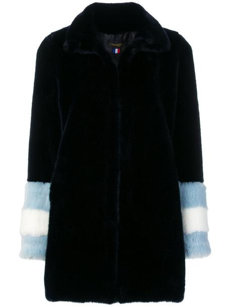 La Seine & Moi coat faux fur coat fur coat fur faux fur women blue