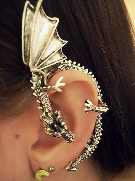 jewels silver ear accessories dragon