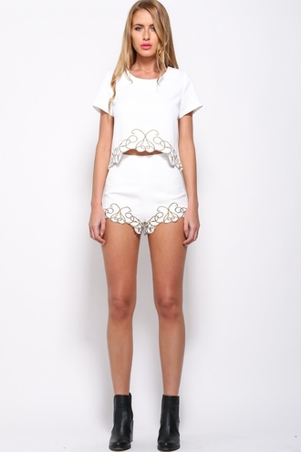 shorts women's white 2 piece set two-piece white embroidered short embroidered short embroidered shorts