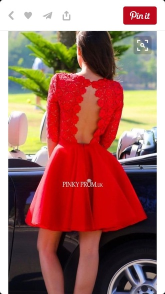 dress red dress open back lace top