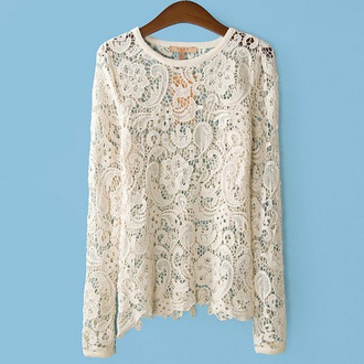 blouse lace blouse long sleeves hollow out crochet