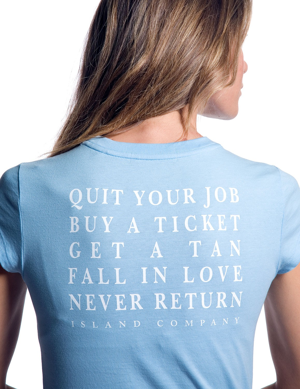 Women's Azul Blue Quit Your Job, Buy a Ticket Tee | Island Company