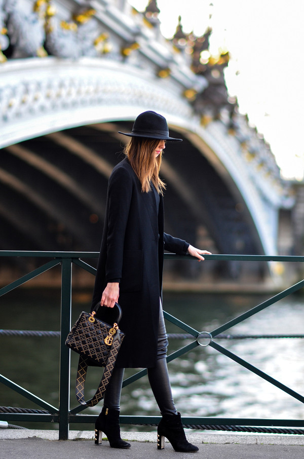 vogue haus blogger coat leggings shoes bag hat spring outfits felt hat dior bag black coat ankle boots high heels boots tumblr pants black pants leather leather pants black leather pants boots black boots all black everything black hat