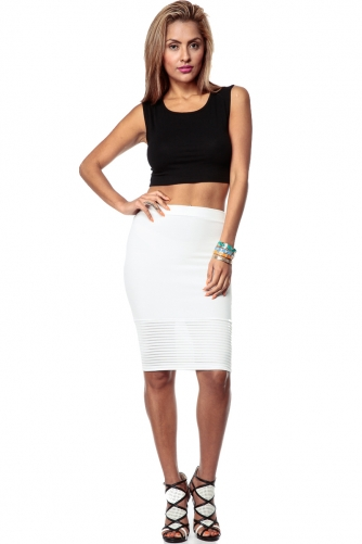 Ivory Textured Striped Contrast Pencil Skirt @ Cicihot Pants Online Store: sexy pants,sexy club wear,women's leather pants, hot pants,tight pants,sweat pants,black pants,baggy pants