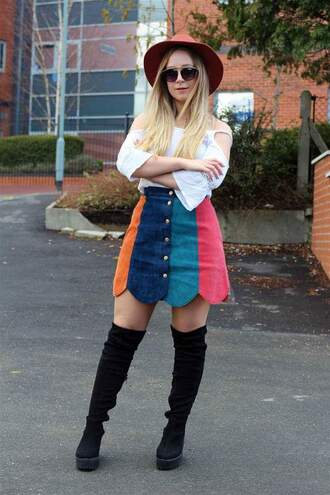 skirt stripes buttons rainbow mini skirt skater skirt casual everyday bottoms