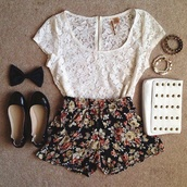 shirt,cute,shoes,girl,outfit,fashion,shorts,bag,bracelets,nail polish,jewels,pants,floral,flowered shorts,top,laxe,lace,bow,white,black,tumblr,t-shirt,skirt,lace top,blouse,white blouse,white studded clutch,lace shirt,handbag,white shirt,lase,black flats,grey,floral top,floral shirt,sheer,flowy,black shorts,high waisted,nice,short,zip up,cute white shirt,white top,cute top,summer top