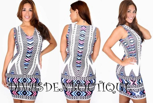 dress bodycon chevron print