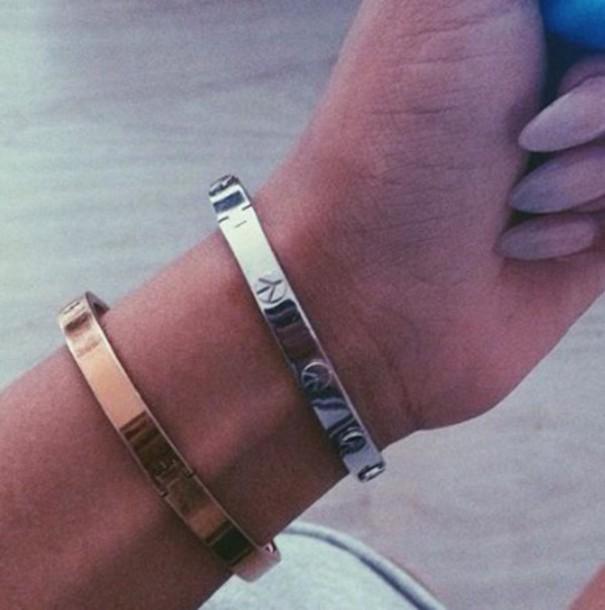 3c331578a jewels, bracelets, cartier replica, gold, rose gold, silver, peace ...