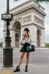 vogue haus,blogger,shirt,skirt,shoes,bag,ankle boots,bell sleeves,black skirt,beret