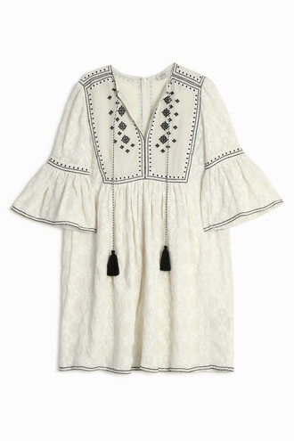 dress embroidered geometric white