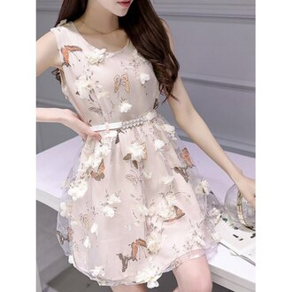 dress floral pink fashion style summer girly butterfly rosewholesale.com