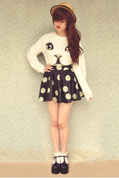 sweater skirt button pattern kitten white sweater skirt cats button skirt kitten print straw hat shoes black wedges