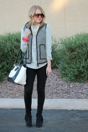 fashion flirtation,t-shirt,jacket,pants,bag,shoes,jewels,sunglasses,quilted vest