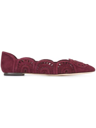 scalloped shoes red