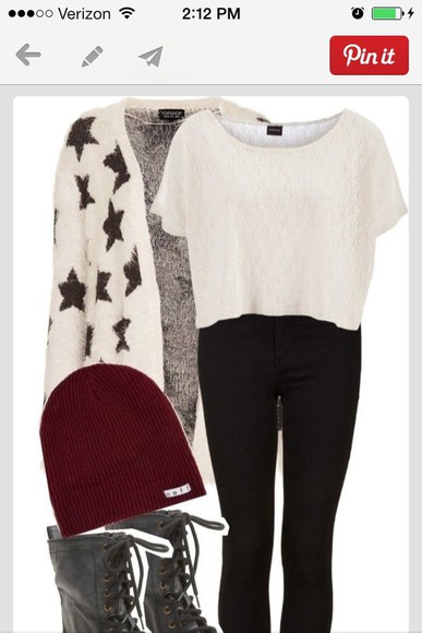 black and white sweater stars cardigan