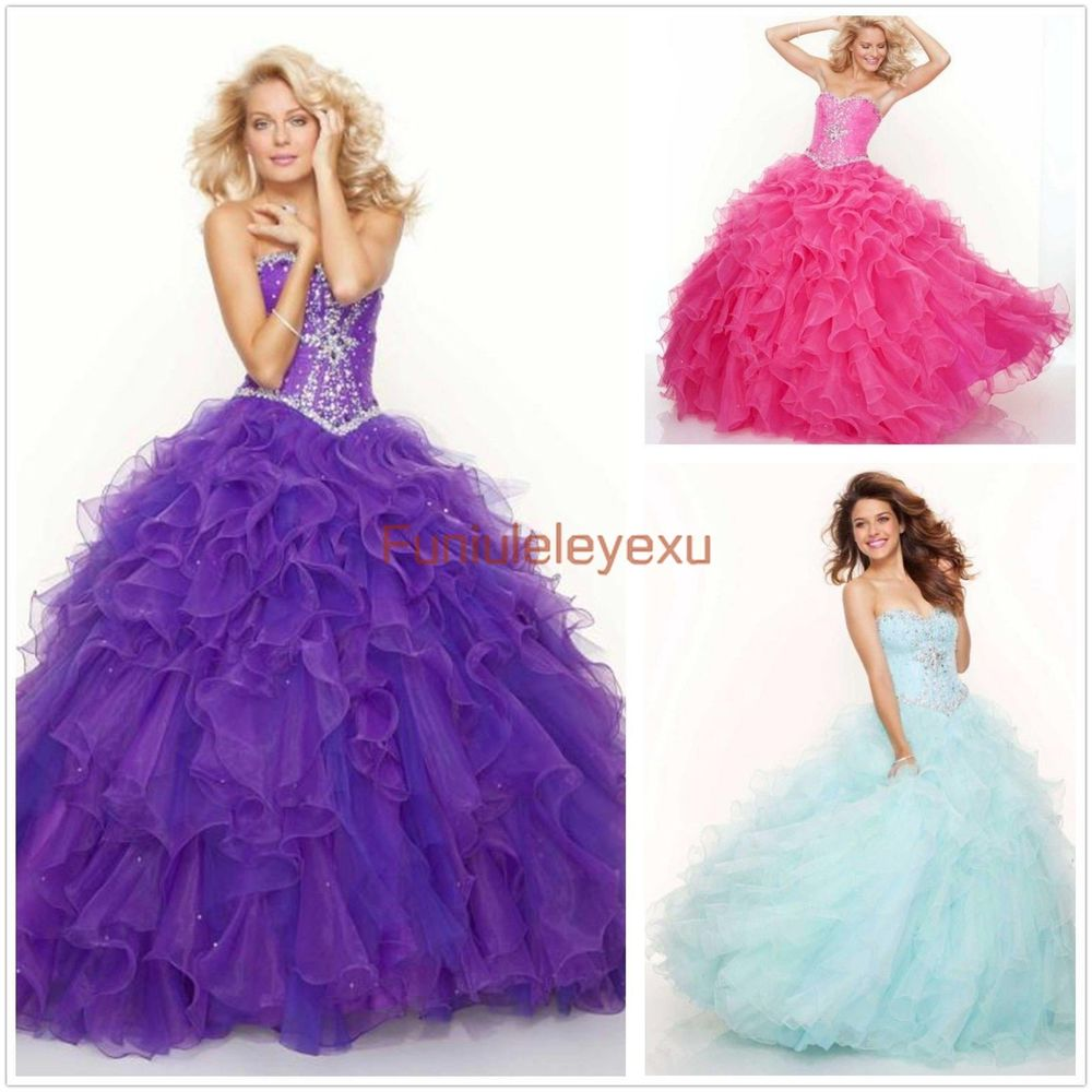 New Quinceanera Dresses Ball Gown Formal Prom Purple Hot Pink ...