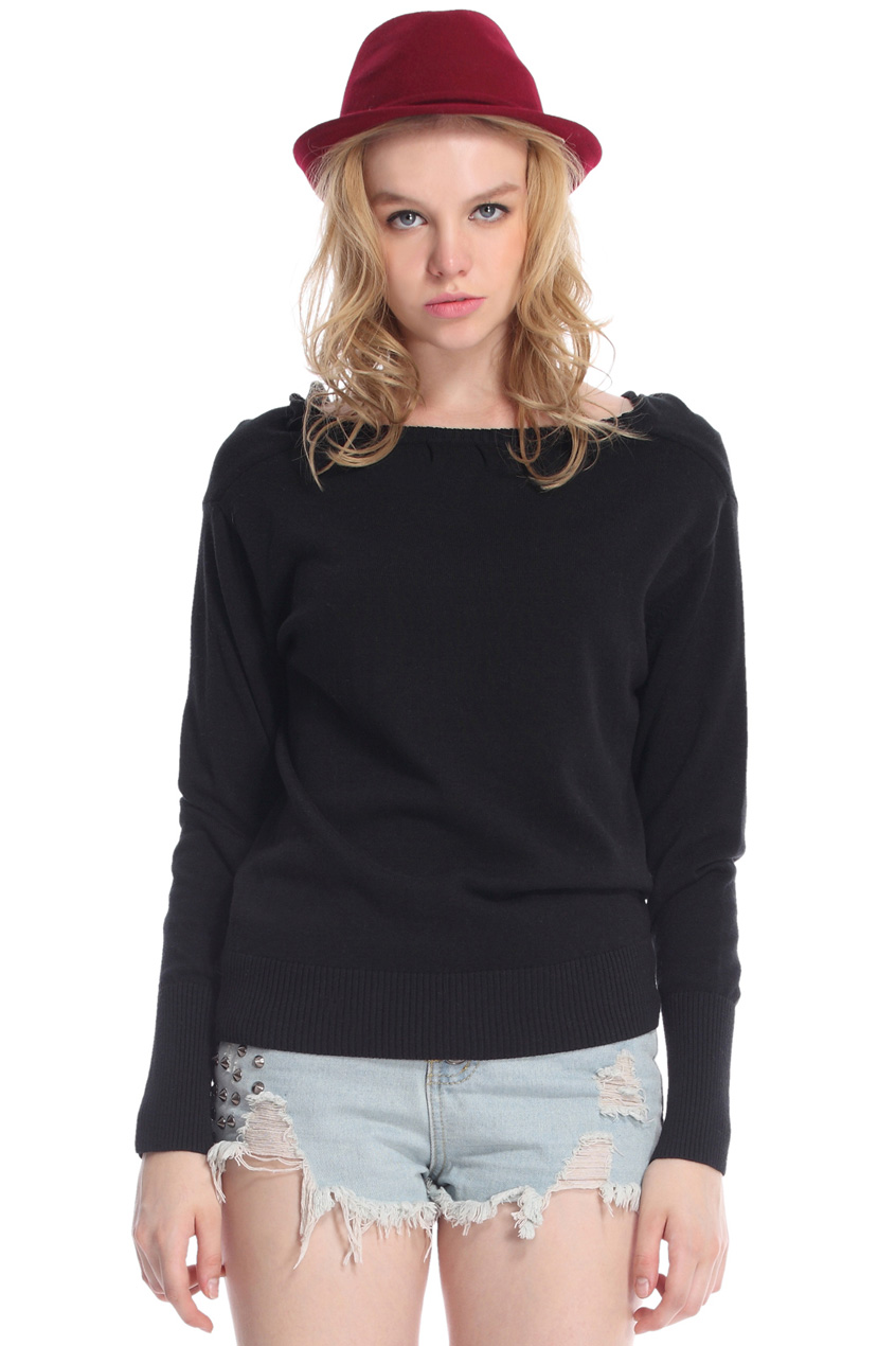 ROMWE | Boat Neck Long Sleeves Black Jumper, The Latest Street Fashion