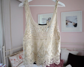 top,tank top,white,crochet,lace,cute,fashion,clothes,clothe,perfect