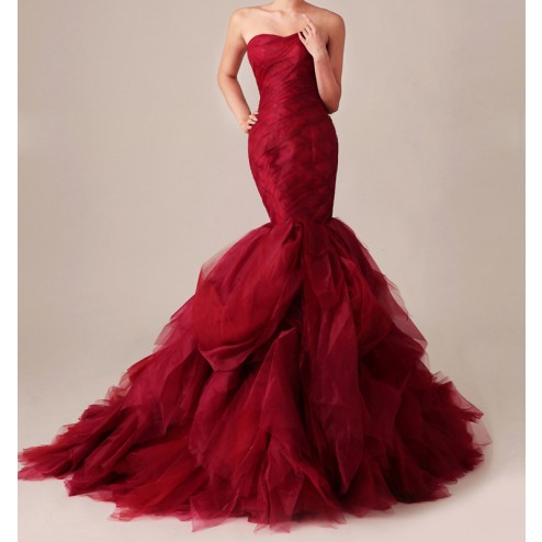 Wedding dress: custom gossip girl inspired dramatic red mermaid gown
