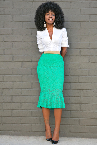 blogger skirt shoes white blouse button up pencil skirt lace skirt black heels black girls killin it office outfits