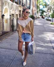 shorts,blouse,top,mules,white mules,denim