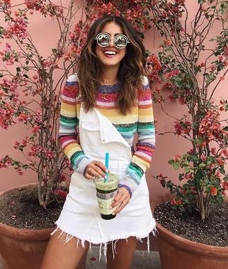 top skirt mini skirt white skirt sunglasses round sunglasses stripes striped top