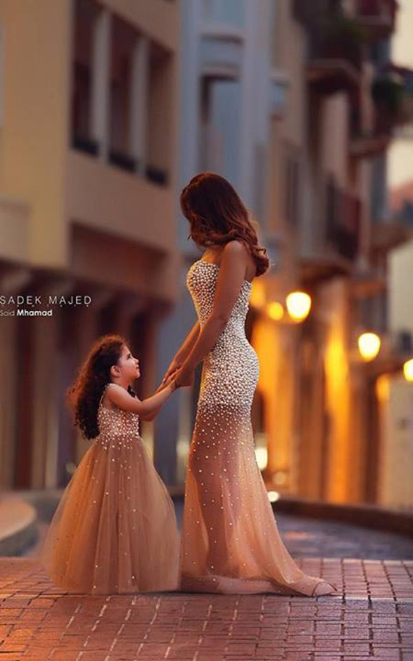 dress princess beautiful pearl mini me dress kids fashion adults bag belt wome's dress strapless mermaid prom dress beaded sparkle mother and child gown beaded dress nude dress prom dress