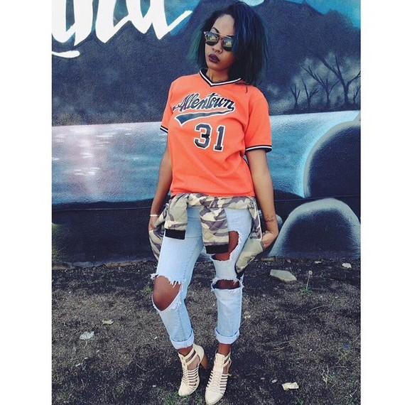 sunglasses grunge black girl ripped jeans short hair haircut jersey lipstick