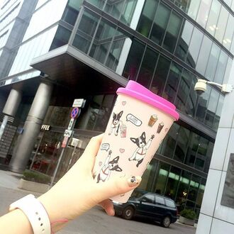 home accessory yeah bunny tumbler pink coffee cute frenchie dog print french bulldog coffeee mug