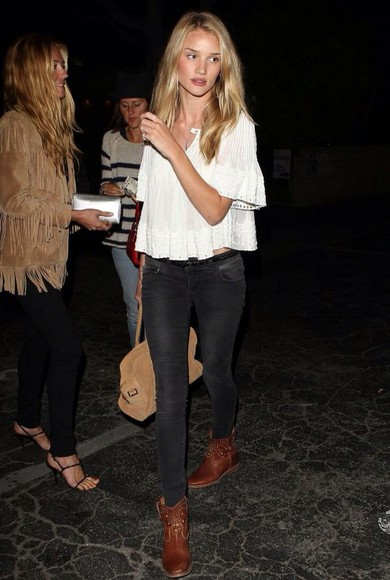 rosie huntington-whiteley top white boho lace gypsy