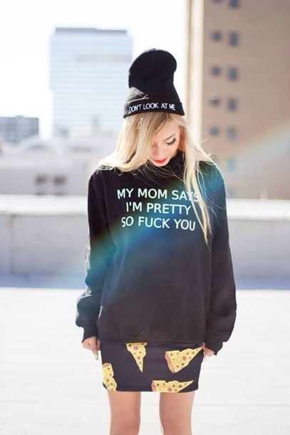 sweater black , funny , quotes skirt edit tags