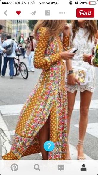 dress maxi dress floral dress slit dress boho dress