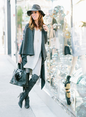 sydne summer's fashion reviews & style tips,blogger,cardigan,jeans,hat,jewels,bag,sunglasses,shoes,felt hat,handbag,over the knee boots,grey boots