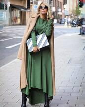dress,maxi dress,long sleeve dress,winter coat,black boots,handbag,sunglasses