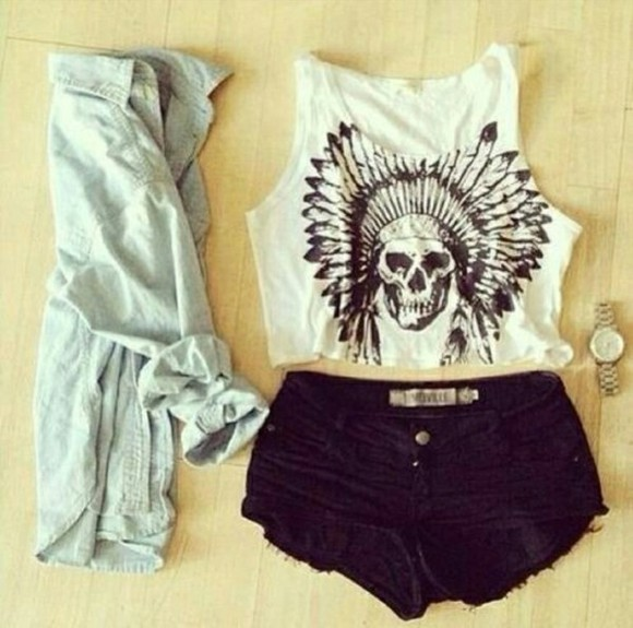 shirt skull shirt skull tank top skull t-shirt crop tops white crop top skull tshirt white tank top graphic tank top indian print american indian indian head shorts