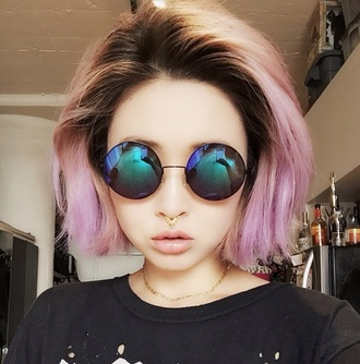 sunglasses gold necklace pastel hair holographic style jewels kawaii grunge nose ring pale soft grunge bag