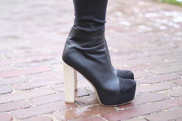 shoes heels black leather wood