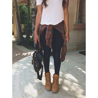shoes combat boots cardigan shirt white top flannel shirt jeans bag