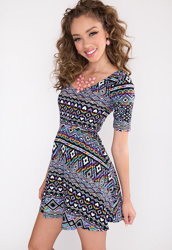 Round and Round Aztec Dress