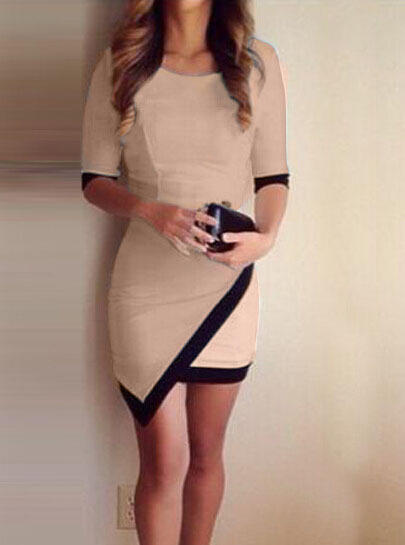 Nextshe fashion women color block half sleeve casual bodycon dress with irregular hem s m l xl size