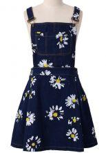 Navy Blue Daisy Floral Print Denim Dungaree Dress - Sheinside.com