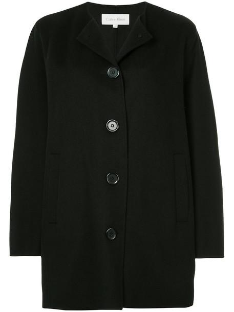 Ck Calvin Klein coat women black wool