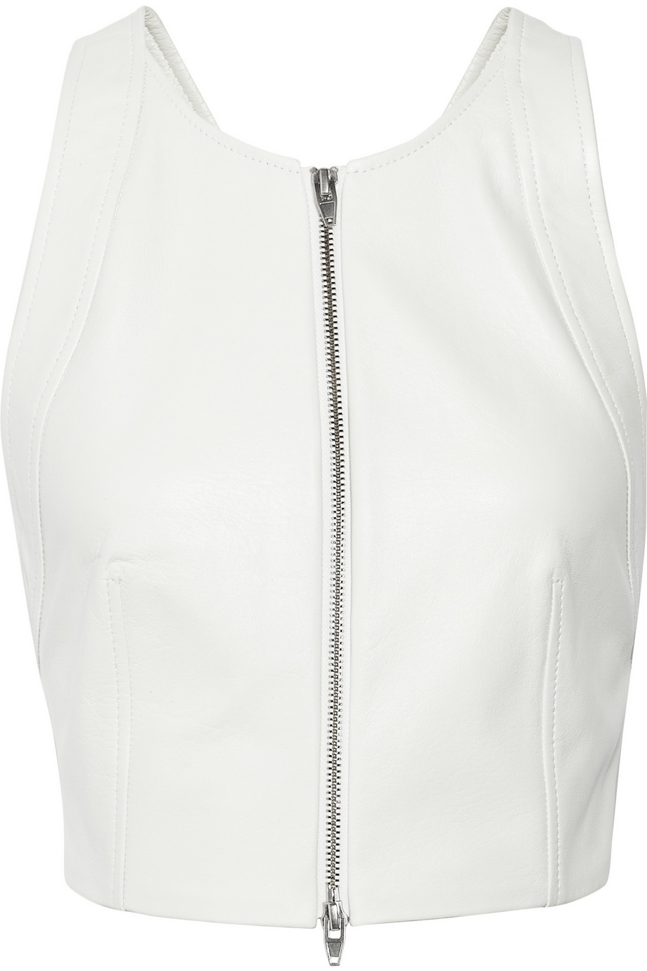 T by Alexander Wang Leather cross-back leather top – 55% at THE OUTNET.COM