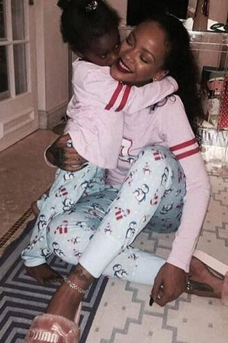 pajamas top pants slide shoes rihanna christmas