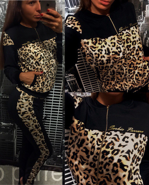 jumpsuit, zefinka, leopard print, leo, sweatshirt, zip up