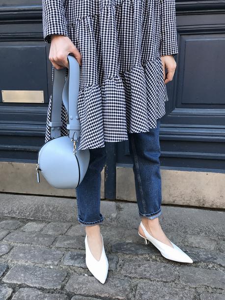 a80b7d227ec shoes tumblr denim white shoes slingbacks mid heel sandals kitten heels  pointed toe jeans dreamcatcher midi
