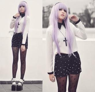 leggings crosses goth pastel goth nu goth pastel hair shirt tights