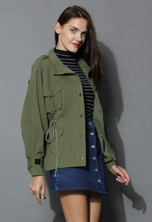 coat,go chic army green military coat,chicwish,army coat